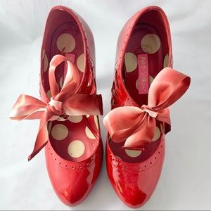Bright Red Betsey Johnson Heels with Ribbon Bows